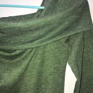 Green Open Shoulder Sweater Dress